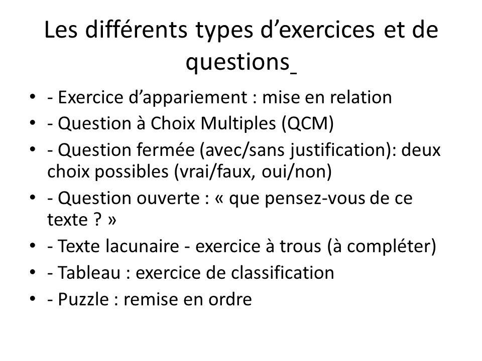 Les différents types dexercices et de questions - Exercice dappariement : mise en relation - Question à Choix Multiples (QCM) - Question fermée (avec/