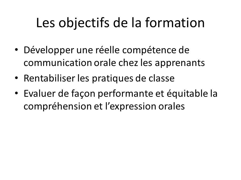 Les objectifs de la formation Développer une réelle compétence de communication orale chez les apprenants Rentabiliser les pratiques de classe Evaluer