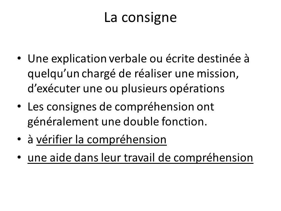 La consigne Une explication verbale ou écrite destinée à quelquun chargé de réaliser une mission, dexécuter une ou plusieurs opérations Les consignes