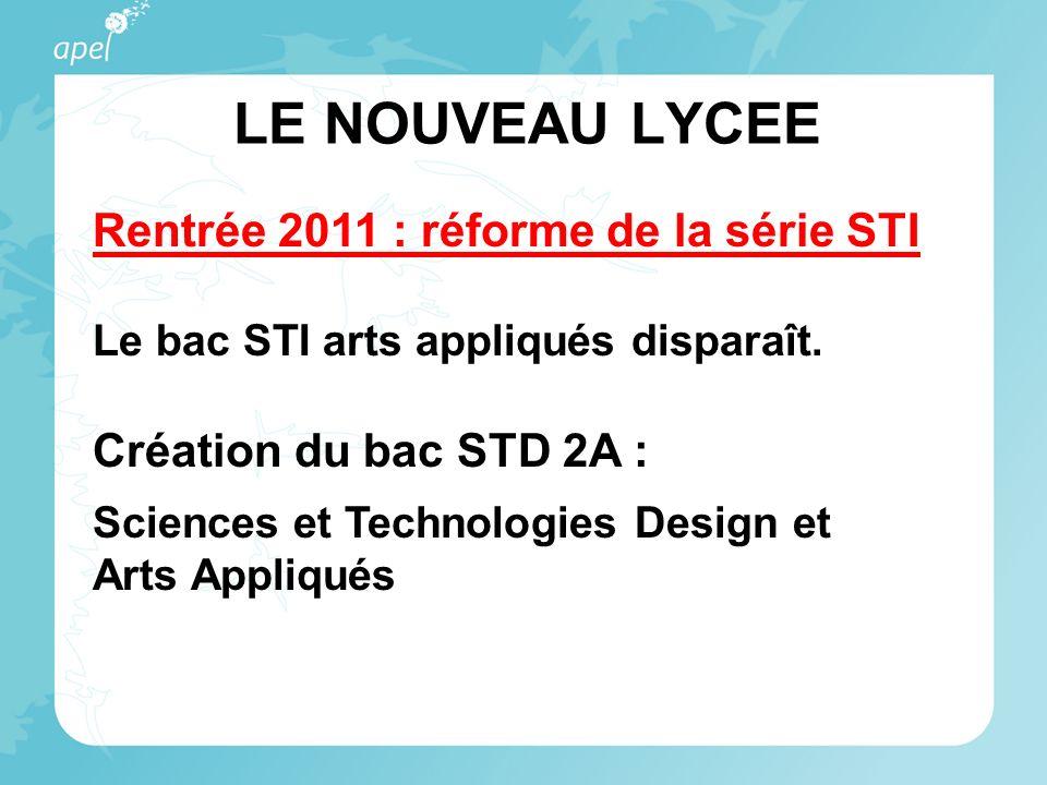 LE NOUVEAU LYCEE Rentrée 2011 : réforme de la série STI Le bac STI arts appliqués disparaît. Création du bac STD 2A : Sciences et Technologies Design