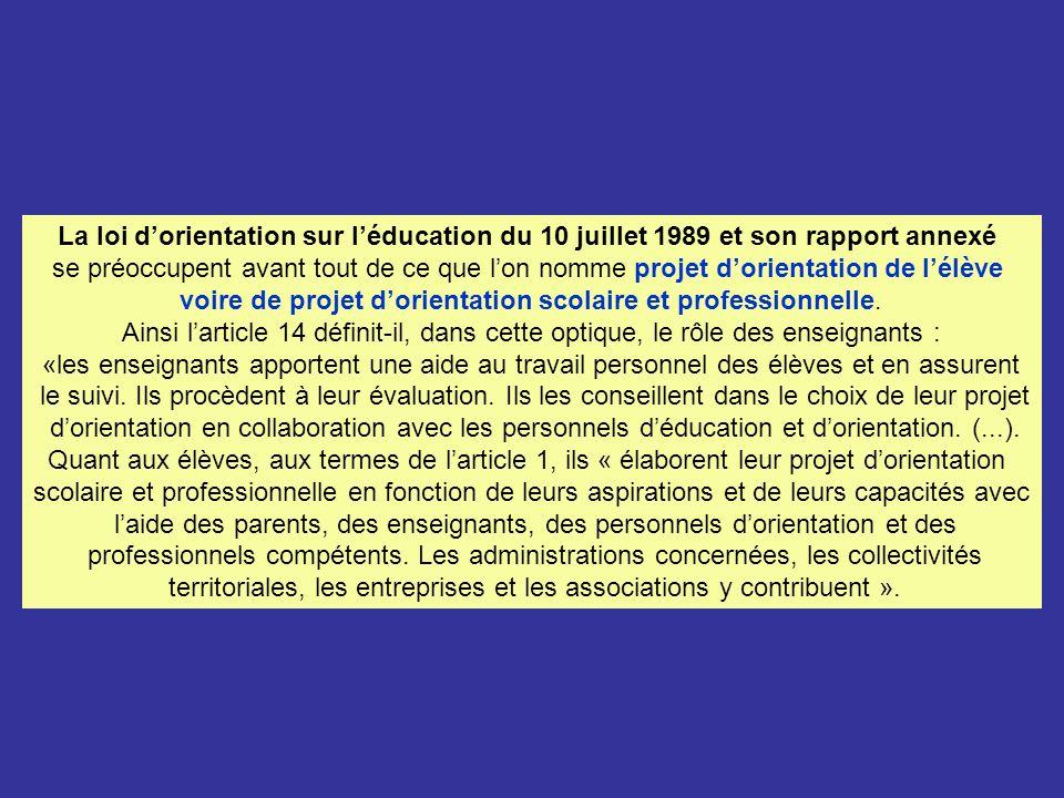 La loi dorientation sur léducation du 10 juillet 1989 et son rapport annexé se préoccupent avant tout de ce que lon nomme projet dorientation de lélève voire de projet dorientation scolaire et professionnelle.