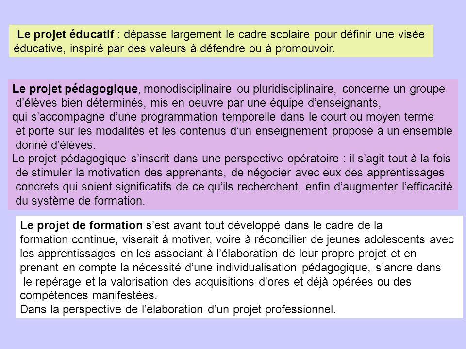 Le projet éducatif : dépasse largement le cadre scolaire pour définir une visée éducative, inspiré par des valeurs à défendre ou à promouvoir.