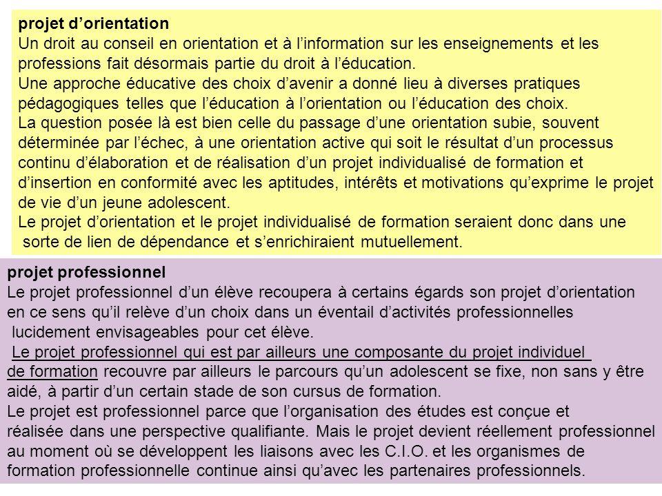 projet dorientation Un droit au conseil en orientation et à linformation sur les enseignements et les professions fait désormais partie du droit à léducation.