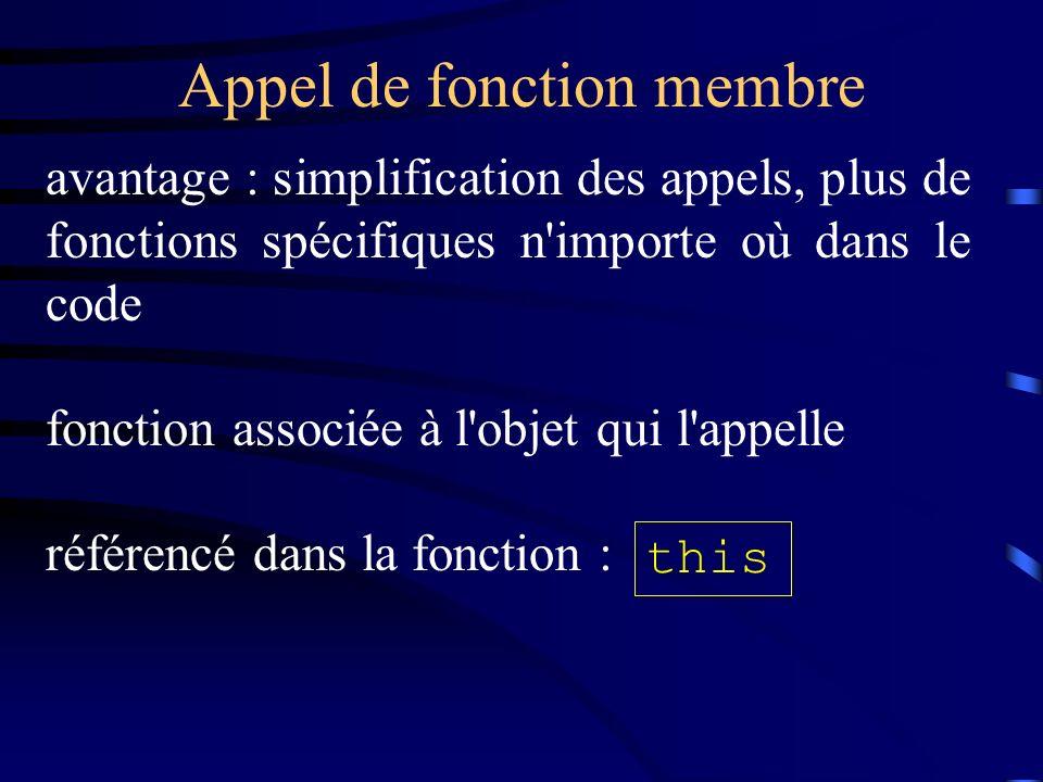 Appel de fonction membre avantage : simplification des appels, plus de fonctions spécifiques n importe où dans le code fonction associée à l objet qui l appelle référencé dans la fonction : this