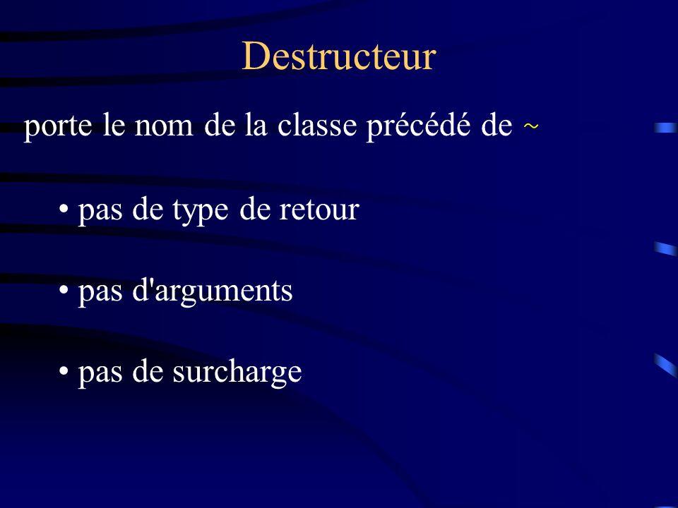 Destructeur porte le nom de la classe précédé de ~ pas de type de retour pas d arguments pas de surcharge