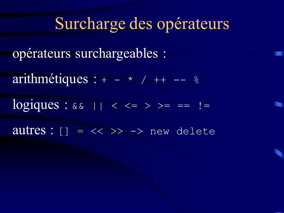 Surcharge des opérateurs opérateurs surchargeables : arithmétiques : + - * / ++ -- % logiques : && || >= == != autres : [] = > -> new delete