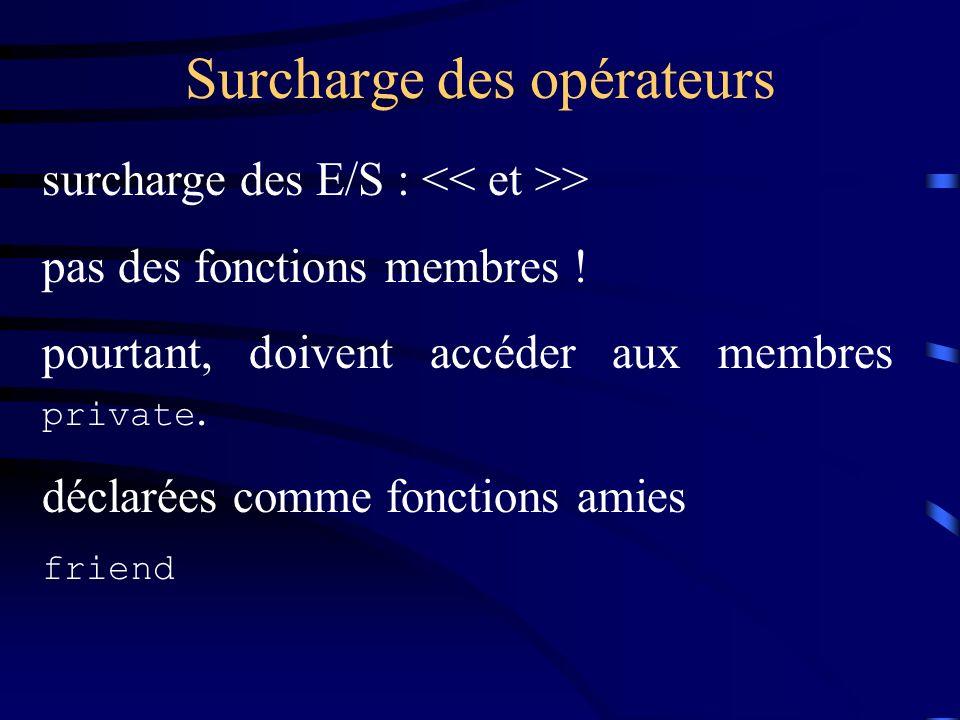 Surcharge des opérateurs surcharge des E/S : > pas des fonctions membres .
