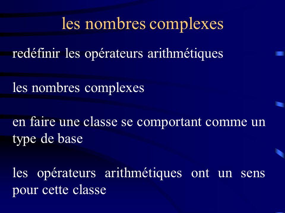 les nombres complexes redéfinir les opérateurs arithmétiques les nombres complexes en faire une classe se comportant comme un type de base les opérateurs arithmétiques ont un sens pour cette classe