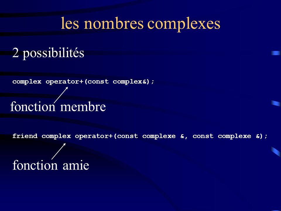 les nombres complexes 2 possibilités complex operator+(const complex&); friend complex operator+(const complexe &, const complexe &); fonction membre fonction amie