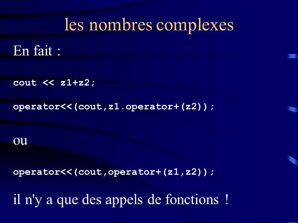 les nombres complexes En fait : cout << z1+z2; operator<<(cout,z1.operator+(z2)); ou operator<<(cout,operator+(z1,z2)); il n y a que des appels de fonctions !