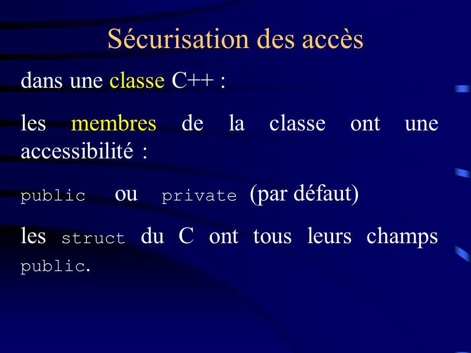 Sécurisation des accès dans une classe C++ : les membres de la classe ont une accessibilité : public ou private (par défaut) les struct du C ont tous leurs champs public.