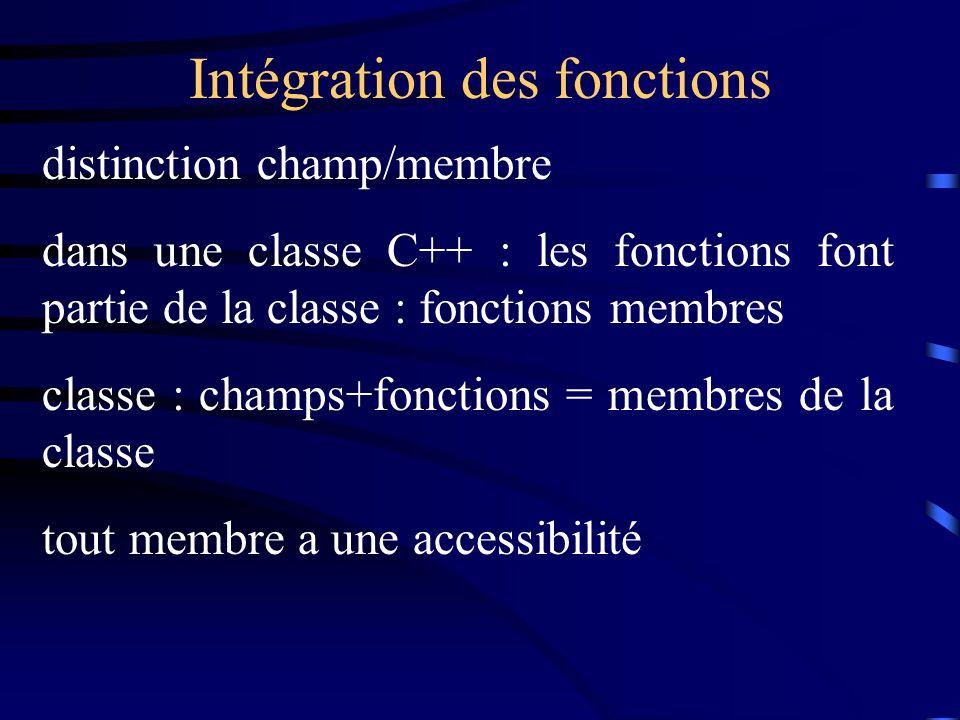 Intégration des fonctions distinction champ/membre dans une classe C++ : les fonctions font partie de la classe : fonctions membres classe : champs+fonctions = membres de la classe tout membre a une accessibilité