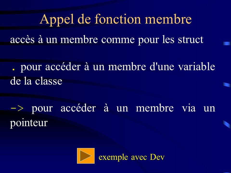 Appel de fonction membre accès à un membre comme pour les struct.