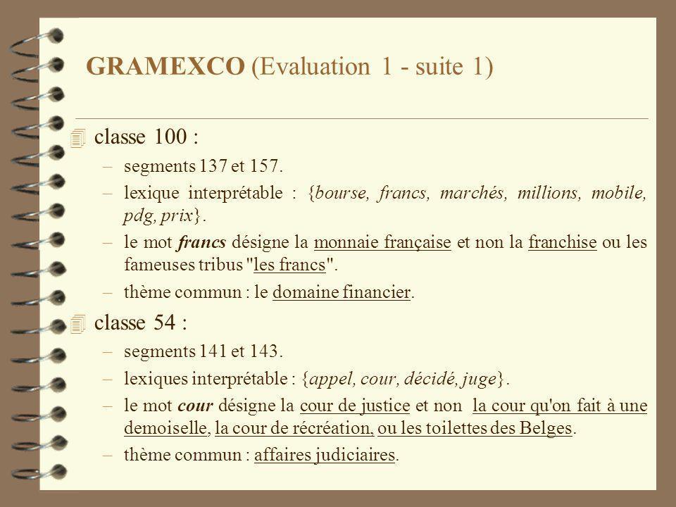 GRAMEXCO (Evaluation 1 - suite 1) 4 classe 100 : –segments 137 et 157.