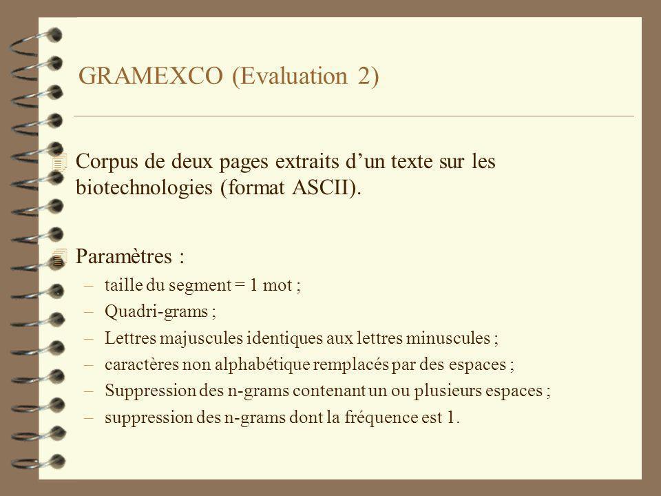 GRAMEXCO (Evaluation 2) 4 Corpus de deux pages extraits dun texte sur les biotechnologies (format ASCII).