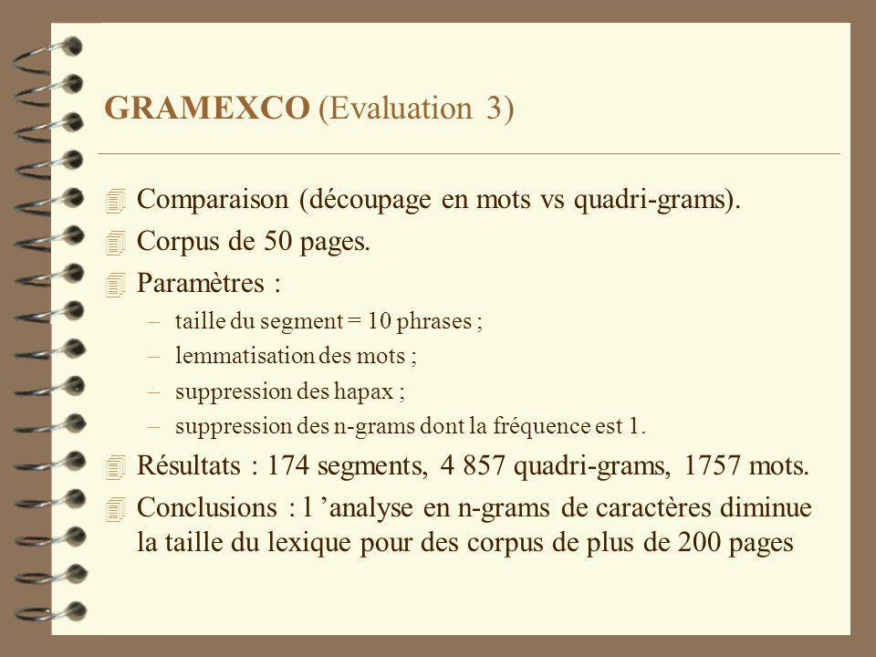 GRAMEXCO (Evaluation 3) 4 Comparaison (découpage en mots vs quadri-grams).