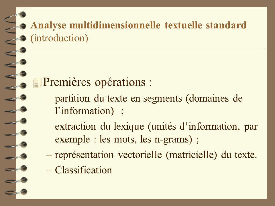 Analyse multidimensionnelle textuelle standard (introduction) 4 Premières opérations : –partition du texte en segments (domaines de linformation) ; –extraction du lexique (unités dinformation, par exemple : les mots, les n-grams) ; –représentation vectorielle (matricielle) du texte.
