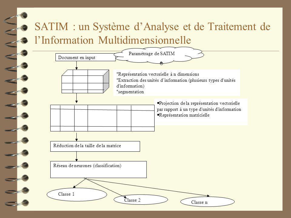 SATIM : Paramétrage 4 Sélection de la base de données qui va recevoir les résultats ; 4 Sélection des interfaces ; 4 Sélection des modules de SATIM en fonction du type de linput; 4 Construction dune chaîne de traitement en fonction des objectifs