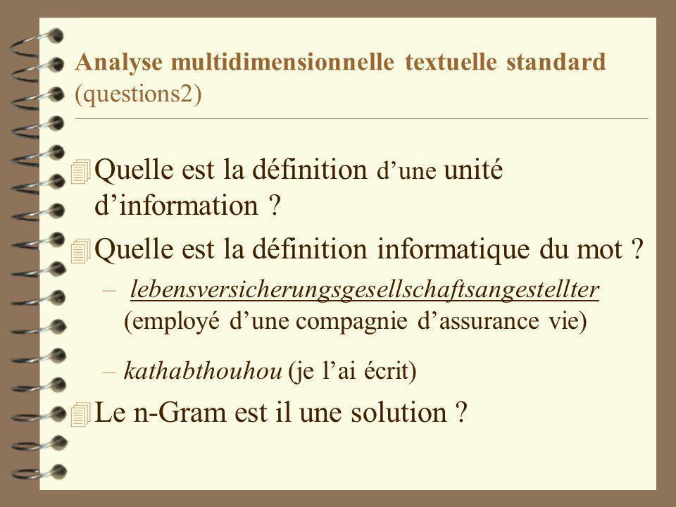 Analyse multidimensionnelle textuelle standard (questions2) 4 Quelle est la définition dune unité dinformation .