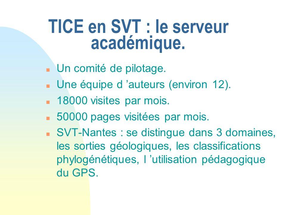 TICE en SVT : le serveur académique. n Un comité de pilotage. n Une équipe d auteurs (environ 12). n 18000 visites par mois. n 50000 pages visitées pa