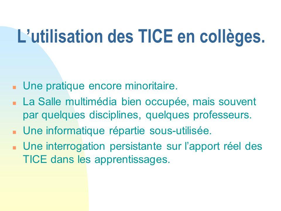 Lutilisation des TICE en collèges.n Linsuffisance doutils et de logiciels.