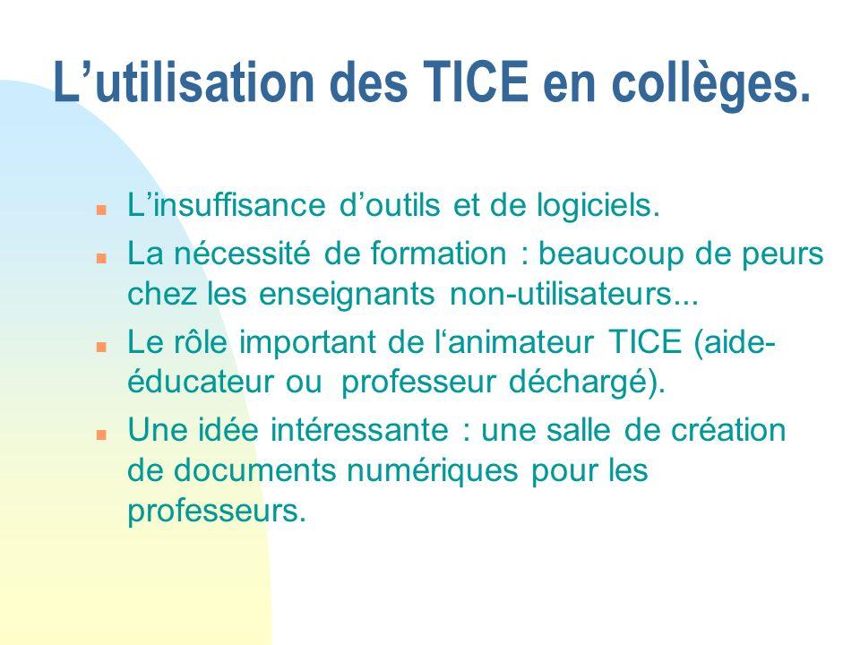 Lutilisation des TICE en lycées.