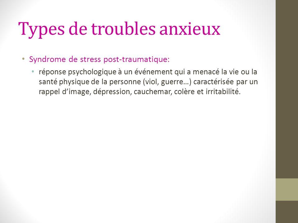 Types de troubles anxieux Syndrome de stress post-traumatique: réponse psychologique à un événement qui a menacé la vie ou la santé physique de la per