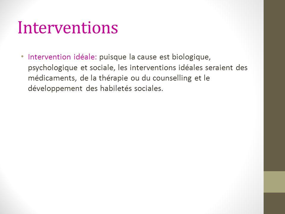 Interventions Intervention idéale: puisque la cause est biologique, psychologique et sociale, les interventions idéales seraient des médicaments, de l