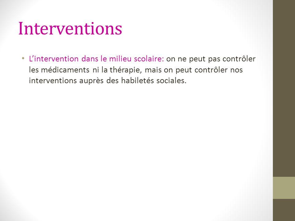Interventions Lintervention dans le milieu scolaire: on ne peut pas contrôler les médicaments ni la thérapie, mais on peut contrôler nos interventions