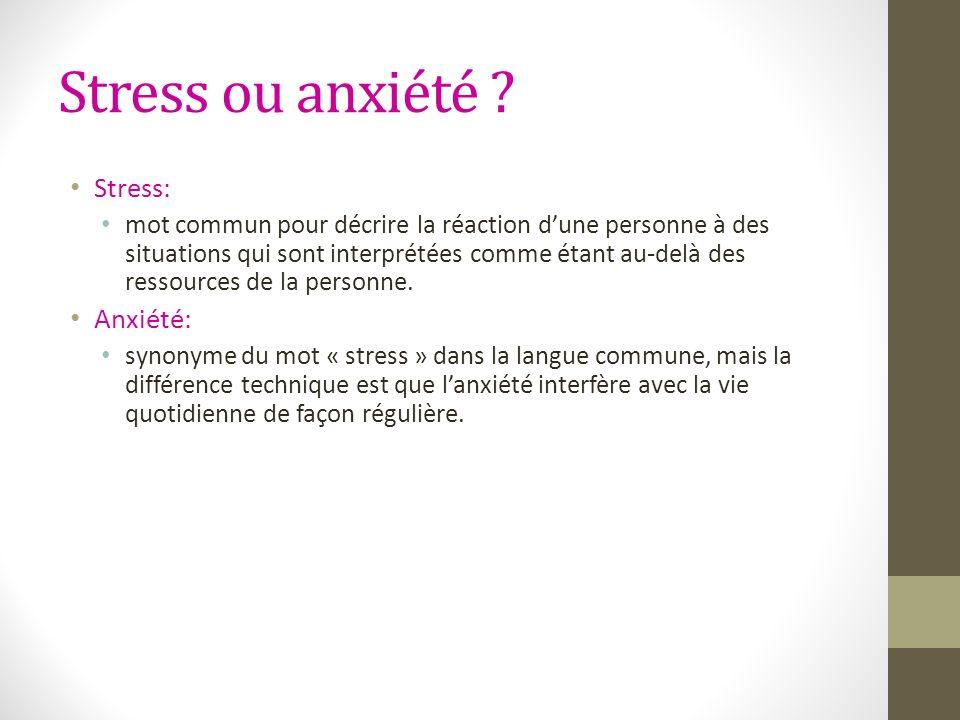 Stress ou anxiété ? Stress: mot commun pour décrire la réaction dune personne à des situations qui sont interprétées comme étant au-delà des ressource