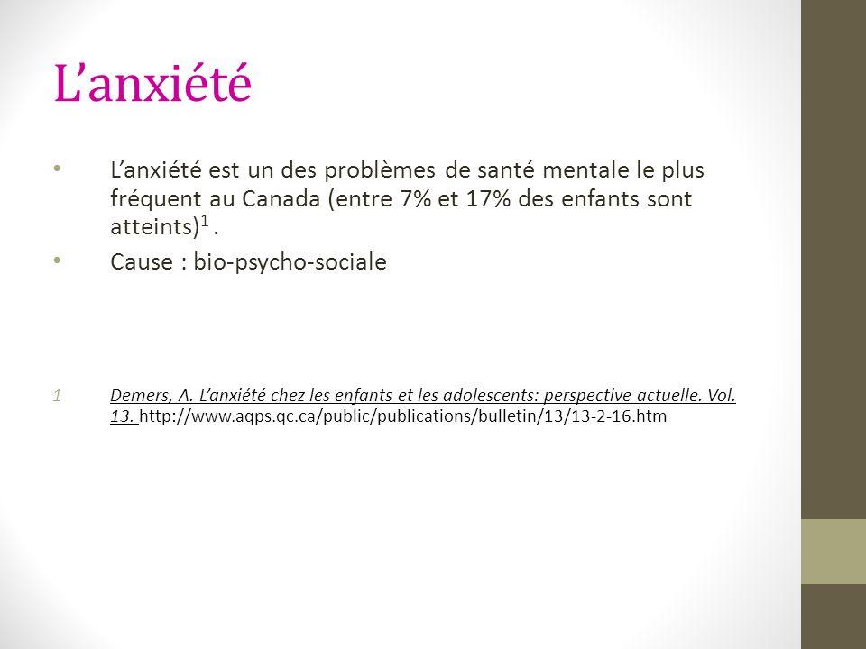Lanxiété Lanxiété est un des problèmes de santé mentale le plus fréquent au Canada (entre 7% et 17% des enfants sont atteints) 1. Cause : bio-psycho-s