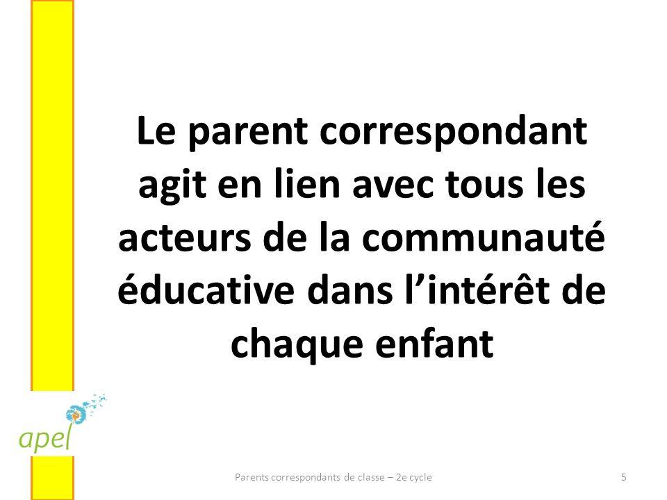 Le parent correspondant agit en lien avec tous les acteurs de la communauté éducative dans lintérêt de chaque enfant Parents correspondants de classe