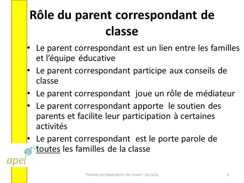 Rôle du parent correspondant de classe Le parent correspondant est un lien entre les familles et léquipe éducative Le parent correspondant participe a