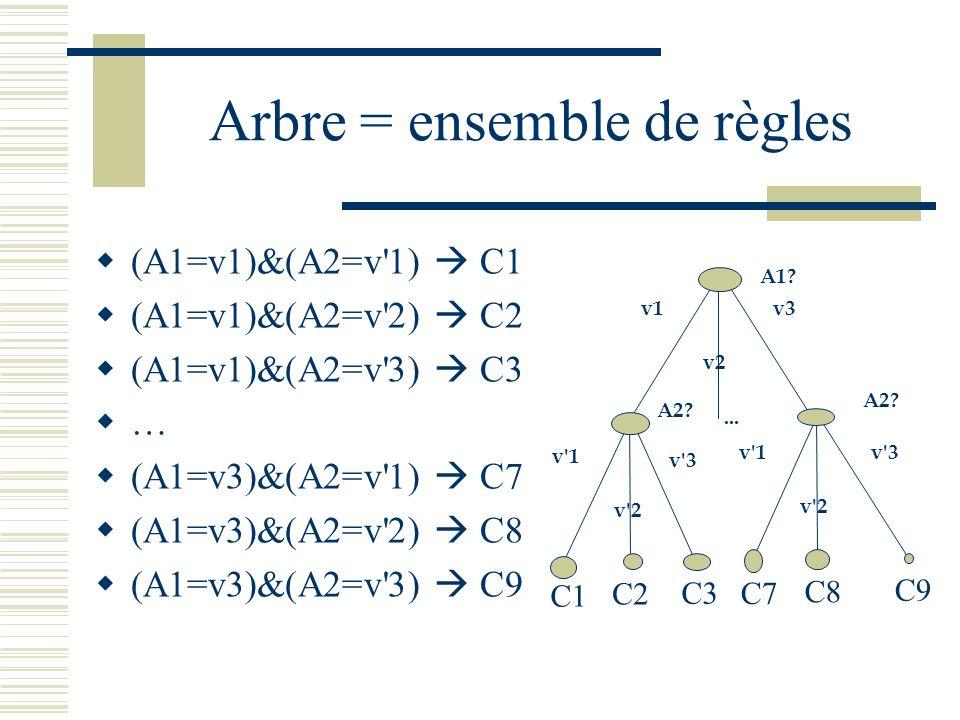 Arbre = ensemble de règles (A1=v1)&(A2=v'1) C1 (A1=v1)&(A2=v'2) C2 (A1=v1)&(A2=v'3) C3 … (A1=v3)&(A2=v'1) C7 (A1=v3)&(A2=v'2) C8 (A1=v3)&(A2=v'3) C9 A