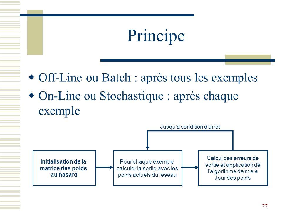 77 Principe Off-Line ou Batch : après tous les exemples On-Line ou Stochastique : après chaque exemple Initialisation de la matrice des poids au hasar