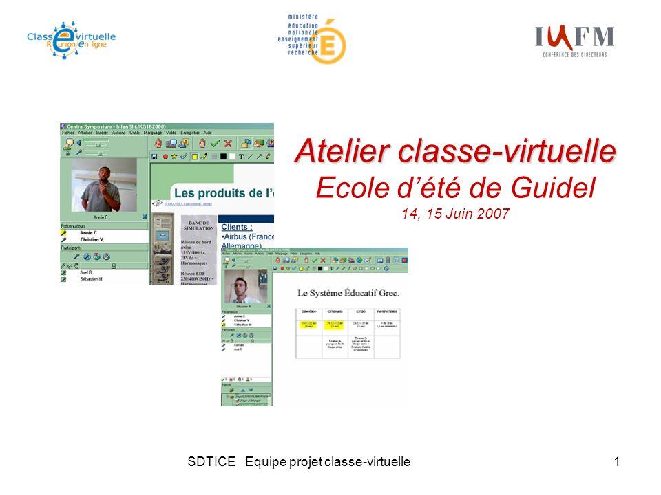 SDTICE Equipe projet classe-virtuelle2 Sommaire Objectif du projet classe-virtuelle Plateformes mises à disposition sur le portail Démonstration Exemples dusages de la classe-virtuelle Quelques données chiffrées dutilisation de la plateforme Centra Questions-réponses Retour des étudiants et formateurs utilisateurs de la classe-virtuelle