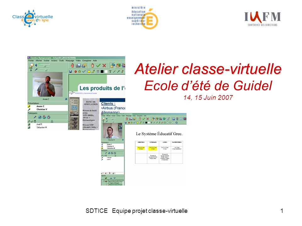 SDTICE Equipe projet classe-virtuelle1 Atelier classe-virtuelle Atelier classe-virtuelle Ecole dété de Guidel 14, 15 Juin 2007