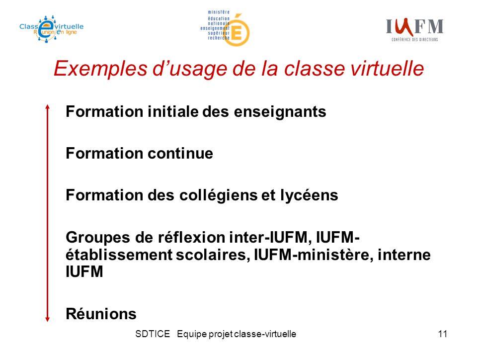 SDTICE Equipe projet classe-virtuelle11 Exemples dusage de la classe virtuelle Formation initiale des enseignants Formation continue Formation des col