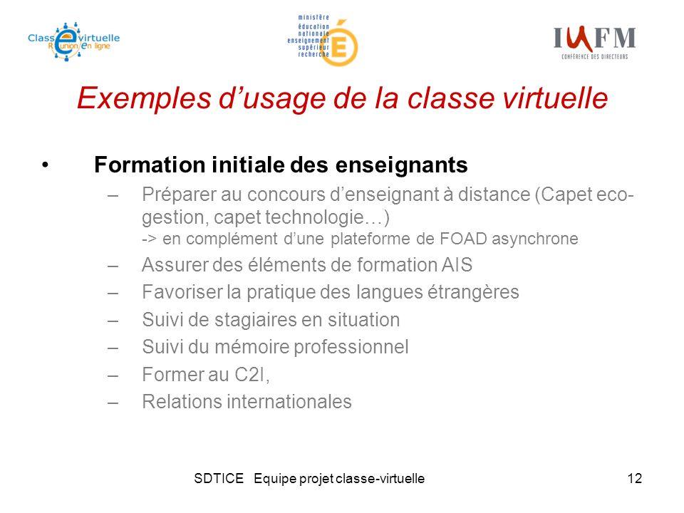SDTICE Equipe projet classe-virtuelle12 Exemples dusage de la classe virtuelle Formation initiale des enseignants –Préparer au concours denseignant à