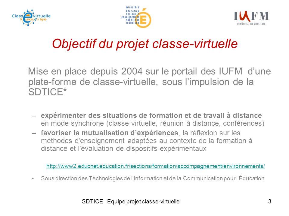 SDTICE Equipe projet classe-virtuelle3 Objectif du projet classe-virtuelle Mise en place depuis 2004 sur le portail des IUFM dune plate-forme de class