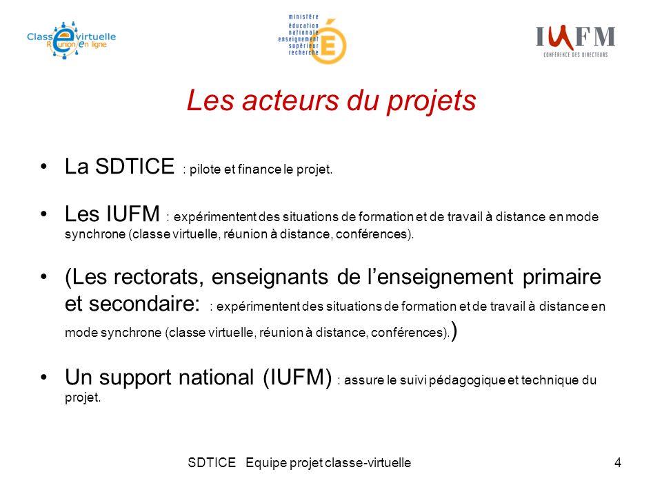 SDTICE Equipe projet classe-virtuelle4 Les acteurs du projets La SDTICE : pilote et finance le projet. Les IUFM : expérimentent des situations de form