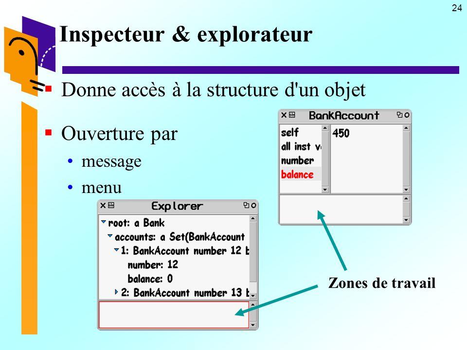 24 Inspecteur & explorateur Donne accès à la structure d un objet Ouverture par message menu Zones de travail
