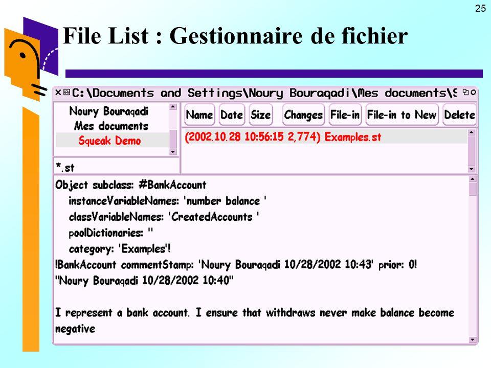 25 File List : Gestionnaire de fichier