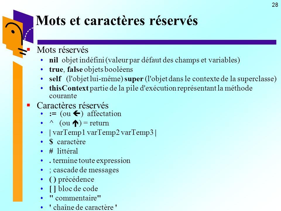28 Mots et caractères réservés Mots réservés nil objet indéfini (valeur par défaut des champs et variables) true, false objets booléens self (l'objet