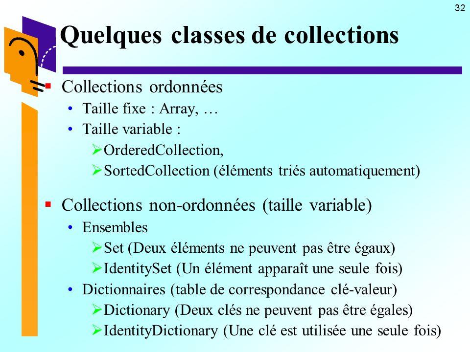 32 Quelques classes de collections Collections ordonnées Taille fixe : Array, … Taille variable : OrderedCollection, SortedCollection (éléments triés automatiquement) Collections non-ordonnées (taille variable) Ensembles Set (Deux éléments ne peuvent pas être égaux) IdentitySet (Un élément apparaît une seule fois) Dictionnaires (table de correspondance clé-valeur) Dictionary (Deux clés ne peuvent pas être égales) IdentityDictionary (Une clé est utilisée une seule fois)