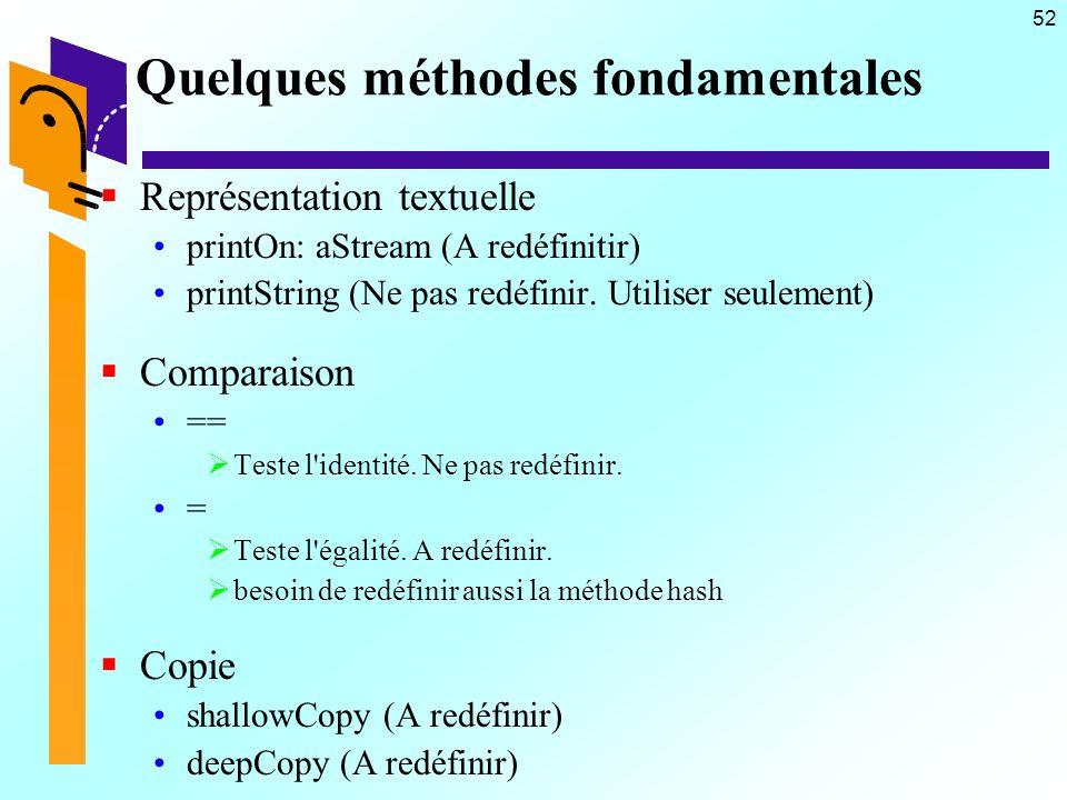 52 Quelques méthodes fondamentales Représentation textuelle printOn: aStream (A redéfinitir) printString (Ne pas redéfinir. Utiliser seulement) Compar