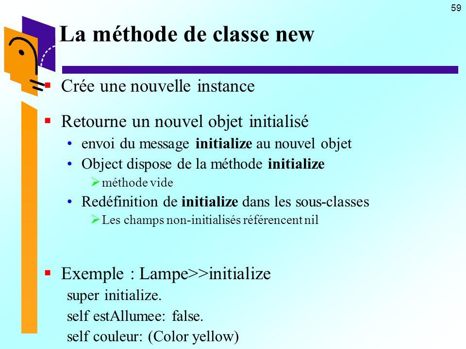 59 La méthode de classe new Crée une nouvelle instance Retourne un nouvel objet initialisé envoi du message initialize au nouvel objet Object dispose
