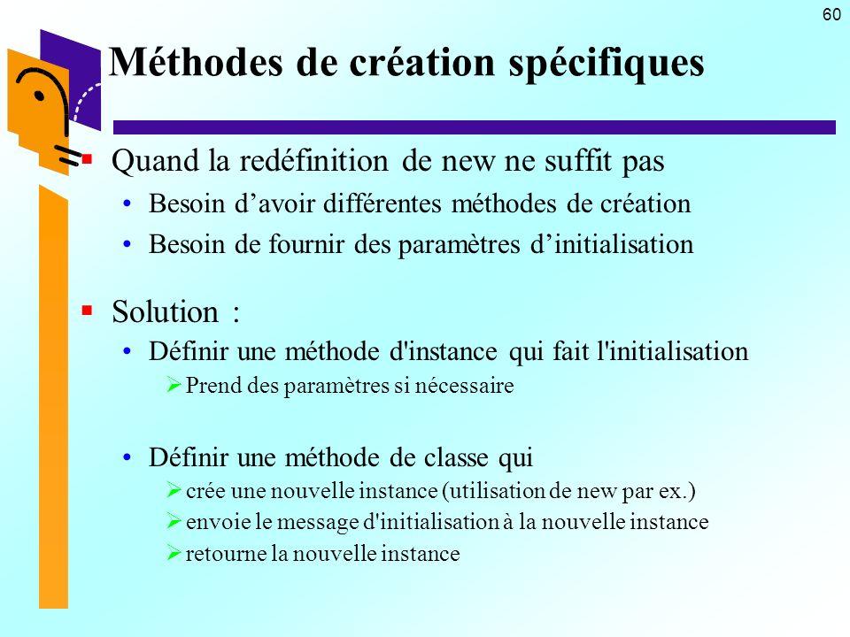 60 Méthodes de création spécifiques Quand la redéfinition de new ne suffit pas Besoin davoir différentes méthodes de création Besoin de fournir des pa