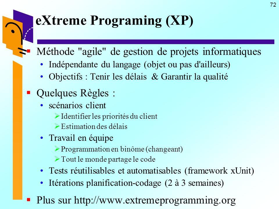 72 eXtreme Programing (XP) Méthode agile de gestion de projets informatiques Indépendante du langage (objet ou pas d ailleurs) Objectifs : Tenir les délais & Garantir la qualité Quelques Règles : scénarios client Identifier les priorités du client Estimation des délais Travail en équipe Programmation en binôme (changeant) Tout le monde partage le code Tests réutilisables et automatisables (framework xUnit) Itérations planification-codage (2 à 3 semaines) Plus sur http://www.extremeprogramming.org