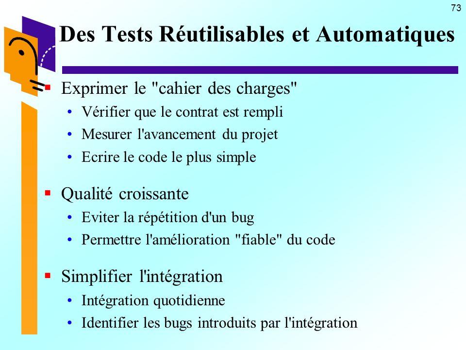 73 Des Tests Réutilisables et Automatiques Exprimer le